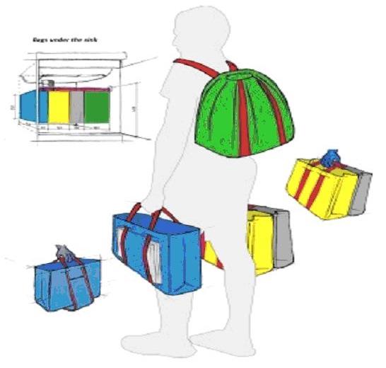 Waste holder and carrier, design by Katalin Dordevics